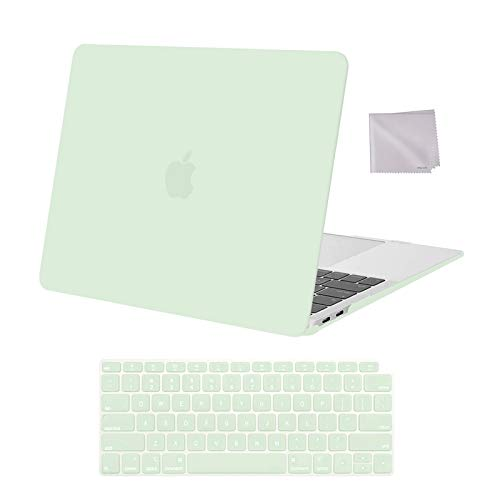 MOSISO Compatible with MacBook Air 13 inch Case 2020 2019 2018 Release A2337 M1 A2179 A1932 Retina Display with Touch ID, Plastic Hard Shell Case & Keyboard Cover & Wipe Cloth, Honeydew Green