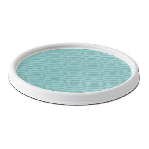 Copco 5234754 Non-Skid Pantry Cabinet Lazy Susan Turntable, 12-Inch, White/Aqua
