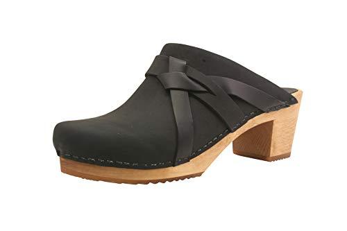 Sanita Manuella - Zuecos de piel con suela de madera para mujer, color Negro, talla 35 EU