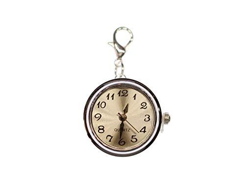 Miniblings Uhr Funktioniert Snap Button Charm - Handmade Modeschmuck I Anhänger Bettelanhänger für Armband I Kettenanhänger versilbert - Druckknopf Uhrzeit Armbanduhr