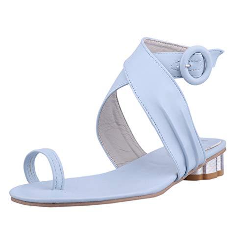 Mujeres Clip Zapatos de Punta de Verano Casual T Correa Poste Thongs Correa de Tobillo Cuadrado talón Chancletas Slip en Sandalias