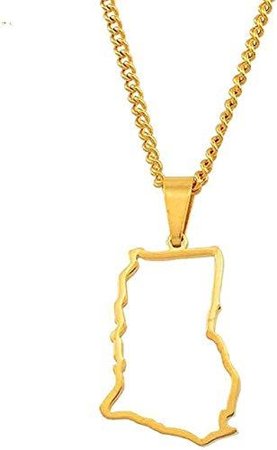 Yiffshunl Collar Collar de Moda Wydswl Ghana Collar Contour Country Card Collares Pendientes para Mujeres Niñas Color Plateado/Color Gold Charm Ghana Jewelry