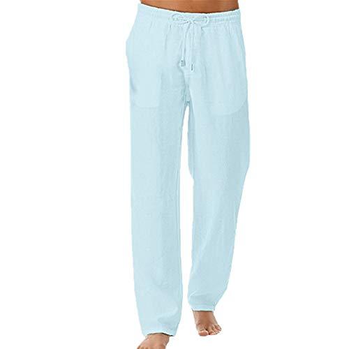 Feitong - Pantalones de verano para hombre, sencillos, sólidos, para fitness, suave, de algodón y lino, para hombre