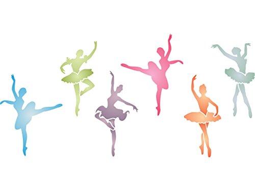 Ballerinas Schablone,–34x 16,5cm–wiederverwendbar Mädchen Ballett Tänzerin Wand–Vorlage, auf Papier Projekte Scrapbook Tagebuch Wände Böden Stoff Möbel Glas Holz etc.