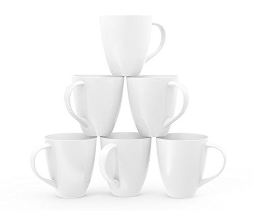 Set of 6 Large-sized 16 Ounce Ceramic Coffee Mugs (White)