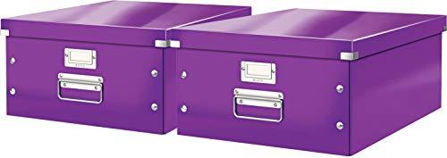 Leitz, Große Aufbewahrungs- und Transportbox, Mit Deckel, Für A3, Click & Store (Lila | 2er Pack)