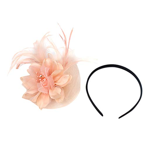 Preisvergleich Produktbild Timogee Damen Fasching Kostüm Accessoires Haarreife Haarband Stirnband Feder Fascinators Hut für Cocktail Ball Hochzeit Stirnband Headwear für Mädchen