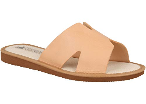 Zapatillas De Casa Mujer De Cuero Natural Perforado Transpirable. (37 EU, Beige 94)