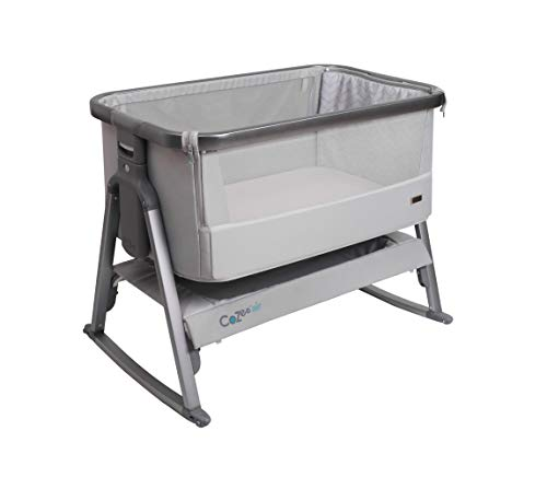 Tutti Bambini CoZee Air Bedside Crib/Co-Sleeper Rocker with Breathable Window, Travel Bag and Easy Fold (Space Grey and Slate)