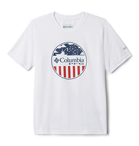 Columbia Toddler Boys PFG Stamp Short Sleeve Shirt, White Offshore Patriot, 3T
