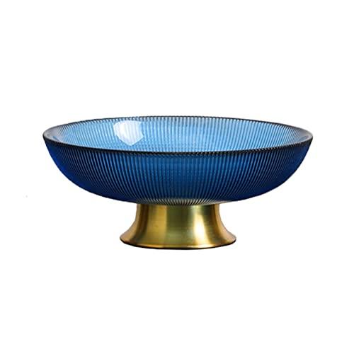ZHENGYUAN Bandeja de fruta simple moderna creativa estilo europeo bandeja de fruta mesa de centro sala de estar de lujo de alta gama vidrio fruta bandeja adornos luz lujo bandeja (Azul-pequeña)