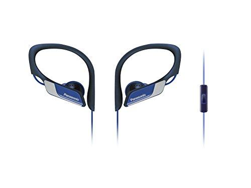 Panasonic RP-HS35ME-A Sport Kopfhörer (Headset, Mobiltelefonie, wechselbare Pass-Stücke (S/M/L), IPX2, Clip) Blau