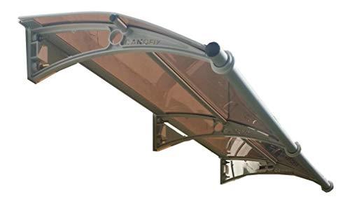 CANOFIX Door Canopy PC 2000W x 650P / DIY Polycarbonate Cantilever Awning/Window Door Pathway Walkway Garden Shed Porch Patio (Grey Bracket - Bronze Sheet)