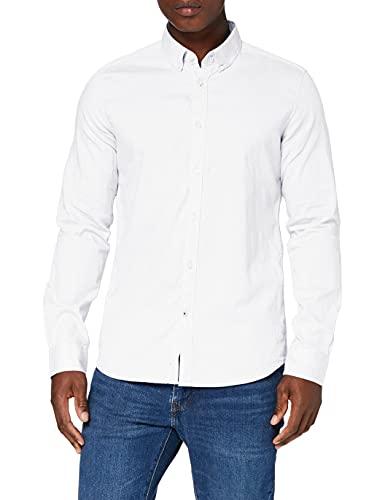 TOM TAILOR Herren Bluse Blusen, Shirts & Hemden Gemustertes Hemd White, L