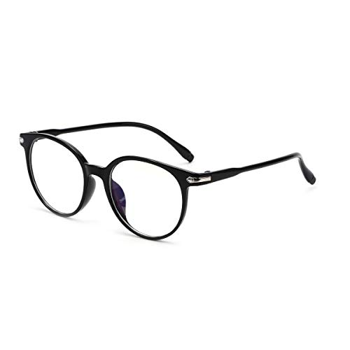 WONOLO Blue Light Blocking Glasses Black Frame Clear Len Gaming Eyewear Retro Vision Care Anti Glare for PC Laptop Gamer Reading (Black Frame Clear Lens)