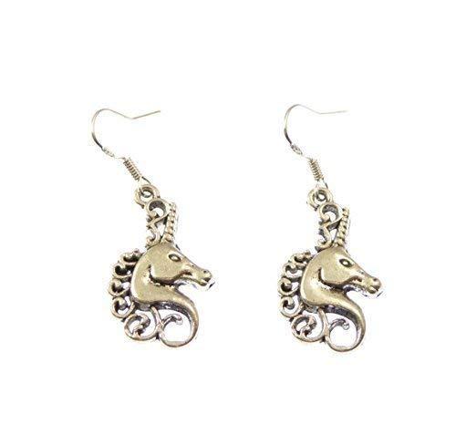 R Heaven Unicorn head dangly drop earrings sterling silver hooks gift 2.5cm