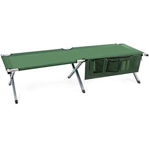 Goplus Folding Camping Cot, Heavy-Duty Foldable Bed for Adults Kids W/Carry Bag, Side Pockets, 450 lbs (Max Load), Outdoor Portable Sleeping Cot for Traveling (Green)