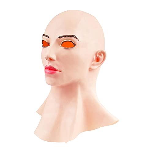 Urisgo Máscara Femenina de Silicona Realista de Cabeza Completa, Cubierta de látex transgénero, Cosplay Sexy para Hombre Real, Suministros para la Cabeza de Fiesta de Halloween