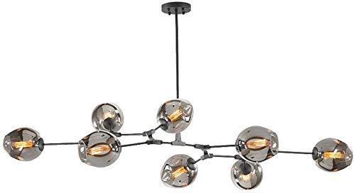 Mid-Century Branch Chandelier Luces colgantes ajustables Sputnik Molecules, Lámpara colgante de techo de vidrio burbuja industrial para sala de estar tipo loft, negro, 3 luces, 8 luces