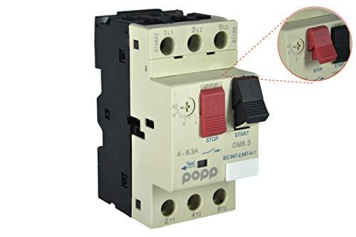POPP® Electric Interruptor de protección del motor Disyuntor del motor 3P 3P, Campo de Regulación de 2.5 a 4A y 4-6.3A (DM6.3)