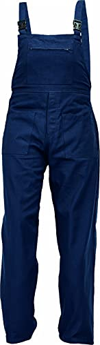 DINOZAVR UDO Pantalones con Peto de Trabajo para Hombre - Algodón Transpirable - Azul Oscuro EU56
