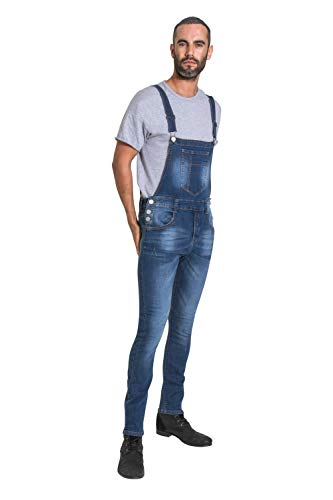 Wash Clothing Company Mens Super Skinny Bib Overalls- Distressed Stonewash Denim Dungarees with Stretc