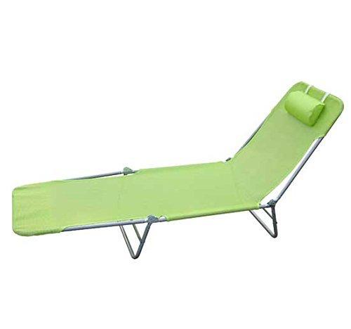 Outsunny Lettino Sedia Sdraio Reclinabile da Giardino Spiaggia Piscina 182 x 56 x 24.5 cm Verde