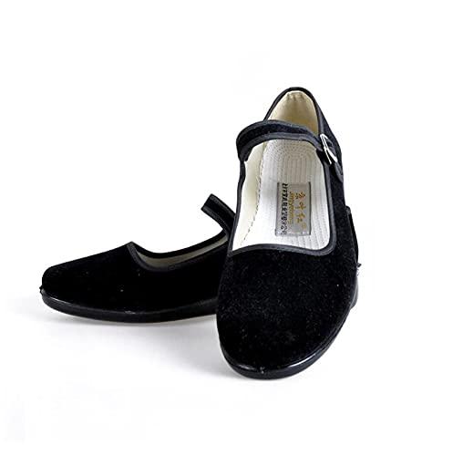 LGYKUMEG Chaussures d'origine Ballerina, Chaussures De Chine, Velvet Ballerina Chine Chaussures Plates, Coton Old Beijing Tissu Chaussures Noir Chinoise Chaussures Traditionnelles Soft 34-43,Noir,37