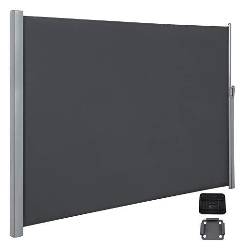 SONGMICS Seitenmarkise, ausziehbar, 2 x 3,5 m (H x L), für Balkon, Terrasse und Garten, mit Bodenhalterung, Sichtschutz, Sonnenschutz, Seitenrollo, rauchgrau GSA205G