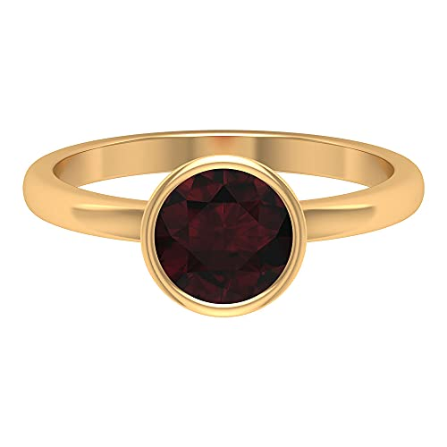 1.50 CT Round Shape Garnet Bezel Set Solitaire Ring (AAA Quality), 14K Yellow Gold, Size:UK N1/2