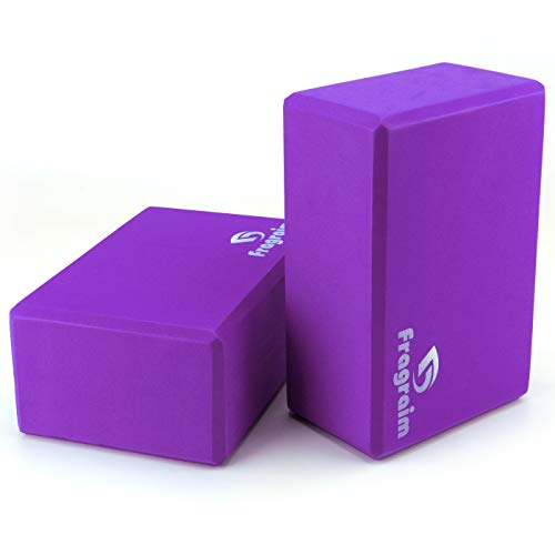 Yoga Blocks (2 Pack) - 9×6×4 High Density EVA Foam Bricks Provides Support Stability Balance & Flexibility and Deepen Poses - Great for Yoga, Pilates, Meditation, Fitness & Gym (Purple)