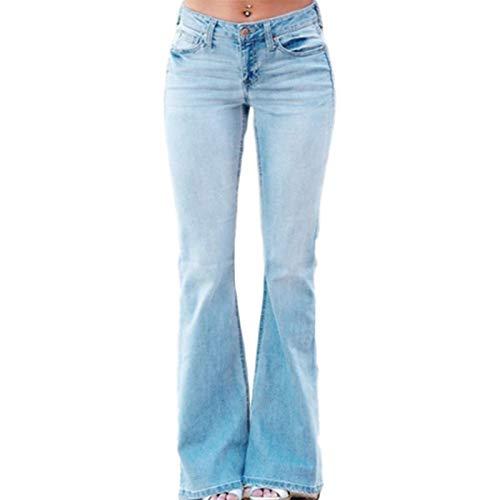 Luandge Pantalones Vaqueros Acampanados Desgastados entallados para Mujer, Pantalones Vaqueros Lavados de Cintura Alta con Botones y Tapeta con Cremallera L