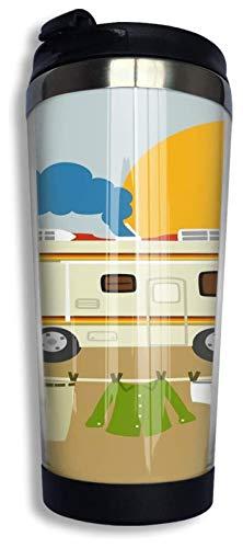 Tazas térmicas Taza de Viaje de café Taza de Acero Inoxidable al vacío Vaso Aislado 13.5 oz (Color : Black1, Size : One Size)