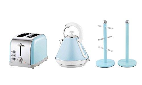 Set de regalo de: tetera, tostadora, árbol de taza y soporte para rollo de cocina en azul claro, rosa o verde menta. 28 x 23 x 22.8 cm azul claro