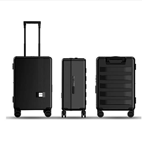 DXFK.AM Eléctrico Negocio Maleta Trolley, Bloqueo de Huella Digital Carga USB Bluetooth Equipaje, Seguimiento automático Alarma Anti-perdida + Inteligente Evitar obstáculos,Negro