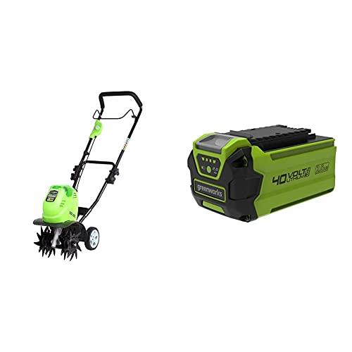 Greenworks Motobineuse à batterie G40TL (Li-Ion batterie 40V fraiseuse rotative), Vert & batterie G40B2 (batterie puissante rechargeable Li-Ion 40 V 2 Ah 40 V)