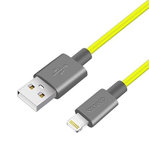VANKO Neongelb USB Ladekabel Datenkabel für iPhone 11 X XS MAX XS XR 8 Plus 8 7 Plus 7 iPad Pro iPad Air iPad Mini iPad und mehr 1.5m