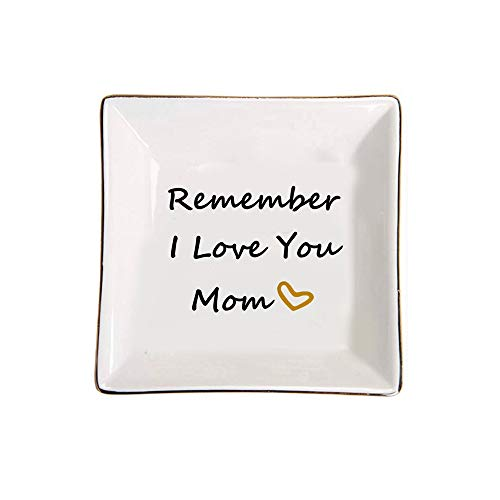 CHOOLD Remember I Love You Mom Square Shape Ring Holder Jewelry Dish...