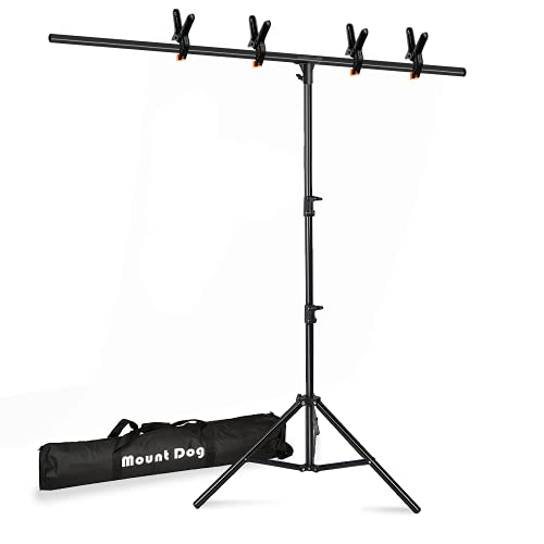 [Upgraded T-Shaped Joint Version] T-Shape Backdrop Stand Kit 6.5x5ft, MOUNTDOG Photo Backdrop Stand Background Support System with 4 Clamps for Photography Video Studio (Backdrop NOT Included)