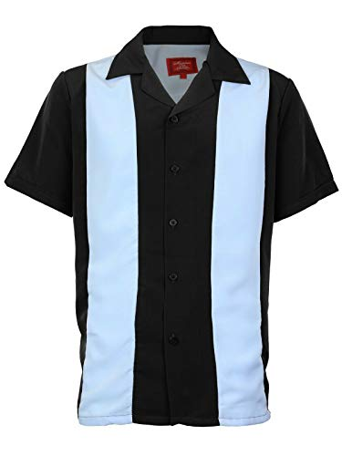 Men's Retro Classic Charlie Sheen Two Tone Guayabera Bowling Casual Dress Shirt (Light Blue/Black, 4XL)