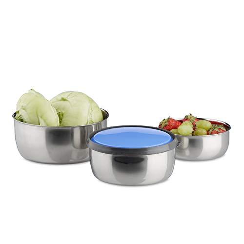 Relaxdays 10020837_45 Set di Ciotole con Coperchio 3 pz Diverse Misure Scodelle in Acciaio Inox da Cucina, Pic-nic, Blu