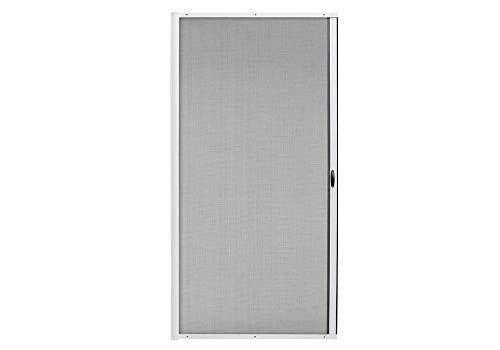 jarolift 3 in 1 Zanzara Fliegengitter-Tür Insektenschutztür Insektenschutzrollo Schiebetür mit Alurahmen, Bausatz, Kürzbar, 125 x 220 cm (B x H), Weiß