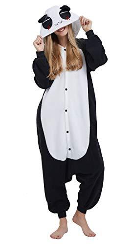 SAMGU Adult Pyjama Cosplay Tier Onesie Body Nachtwäsche Kleid Overall Animal Sleepwear Erwachsene Schwarz + Weiß M