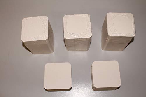 50 Stück Bierdeckel Rohlinge blanko unbedruckt quadratisch 93x93mm Ecken abgerundet Material original Bierdeckelpappe