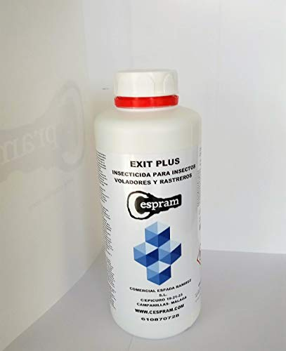 Insecticida concentrado exteriores, para insectos voladores y rastreros.Moscas,mosquitos,polillas,gusanos,hormigas,cucarachas,etc, Alto poder residual. Exit plus.Envase de 1 litros.