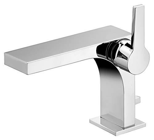 KEUCO Waschtisch-Armatur chrom für Waschbecken im Bad, mit Ablaufgarnitur Zugstange, Höhe 17,5cm, Design-Wasserhahn, Waschtischmischer, Edition 11