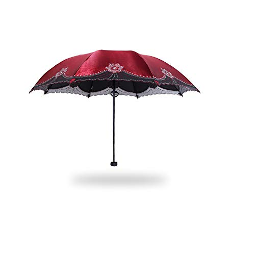 xinrongqu Creativo de Gama Alta para Mujer Bordado Paraguas Protector Solar Tri-Fold Regalo Paraguas Paraguas Plegable Sol Salsa de Paraguas Rojo57 * 8 k