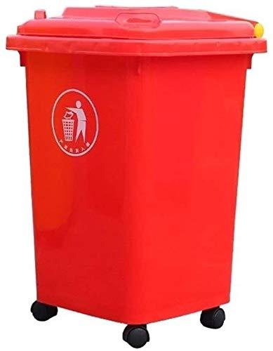 JY & WIN prullenbak van kunststof voor gebruik buitenshuis vuilnisbak op wielen voor commerciële keuken prullenbak voor commerciële doeleinden met deksel (kleur: rood maat: 50 l) 50l-red