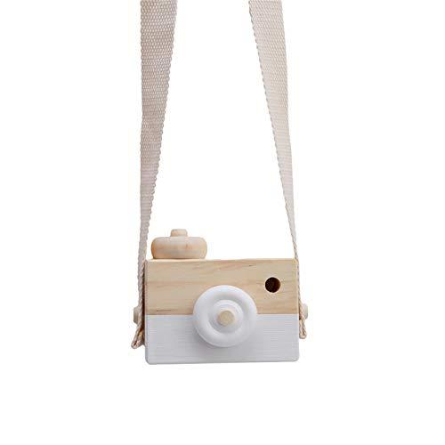 QQWA Cartoon Mini Holzkamera Spielzeug Tragbare Kamera Für Kinder Kleinkinder (Am Hals Hängen), Weiß