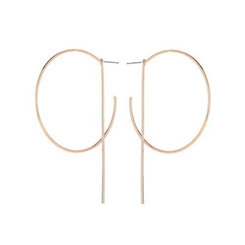 Babysbreath17 1 Paire Simple Style Or Argent Couleur C Forme géométrique Boucles d'oreilles Rondes pour Femmes Bijoux de Mariage Fille de Bal Or 7 * 5cm